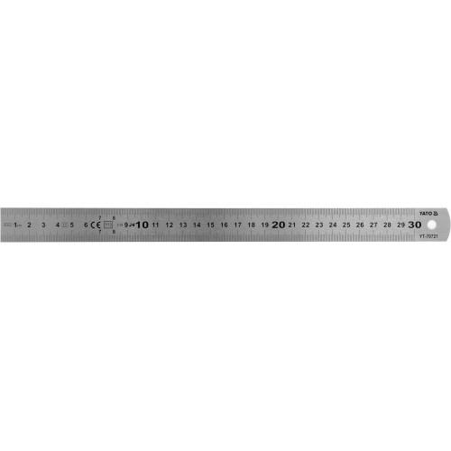 Линейка з нержавеющей стали: L= 300 x 19 мм, двухсторонняя шкала  YATO YT-70721