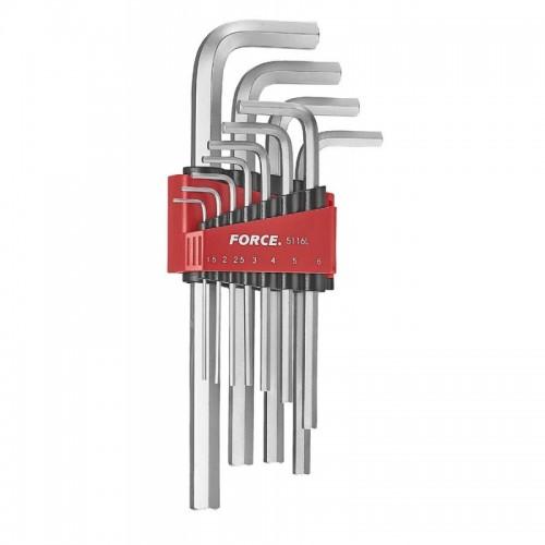 Набор ключей шестигранных  (HEX) угловых длинных 11пр. (1.5-12 мм) FORCE 5116L F