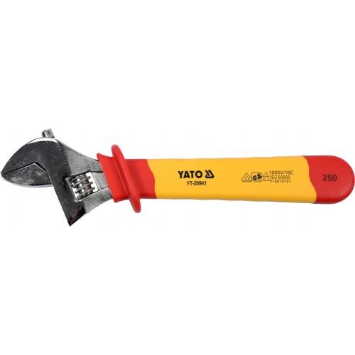 Изолированный разводной ключ VDE до 1000V, L= 250 мм YATO YT-20941