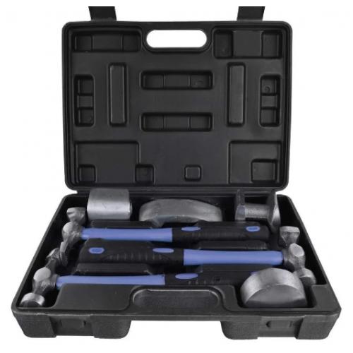 Набор рихтовочный, 3 молотка с фибергласовыми ручками, 4 наковальни,  7ед. GEKO G02640