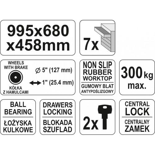 Инструментальная тележка с 7 ящиками, размер: 995х458х680 мм YATO YT-0914