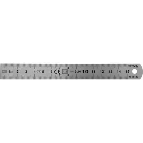 Линейка из нержавеющей стали YATO : L= 150 x 19 мм, двухсторонняя шкала, таблицы пересчета YT-70720