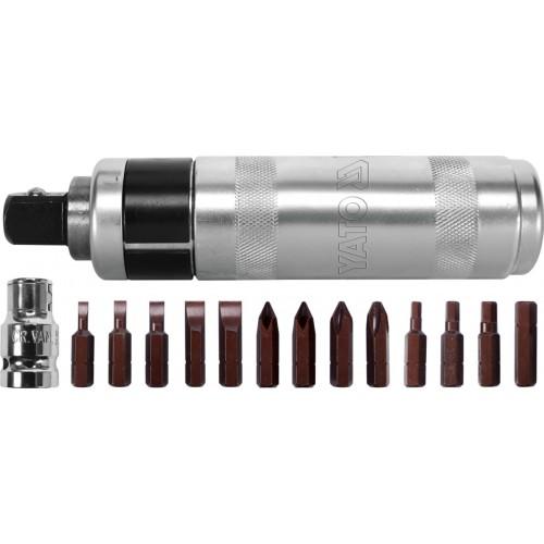Отвертка реверсивная ударная YATO : L= 160 мм, с магнитными насадками, комплект 15 ед. Yato YT-28015