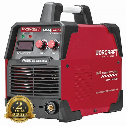 Сварочный аппарат инверторный 6500 Вт.160 А для электродов 1,6-4,0 мм. MMA-160DP WORCRAFT
