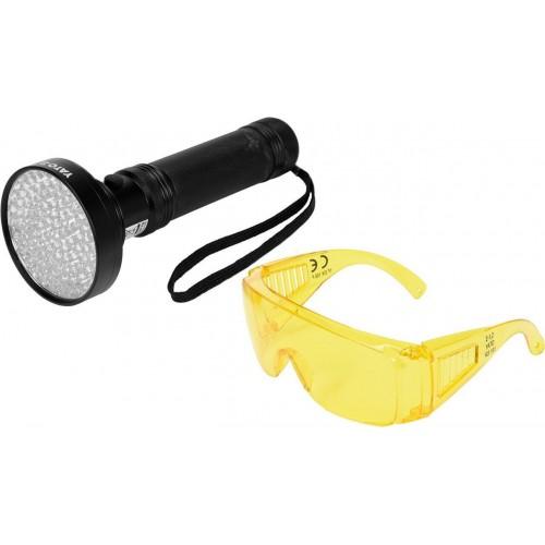 Ультрафиолетовый фонарь + очки для определения утечки фреона YATO YT-08582