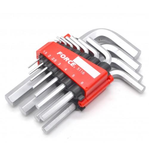 Набор угловых шестигранных ключей HEX 1,5-12 мм 11ед. FORCE 5116 F