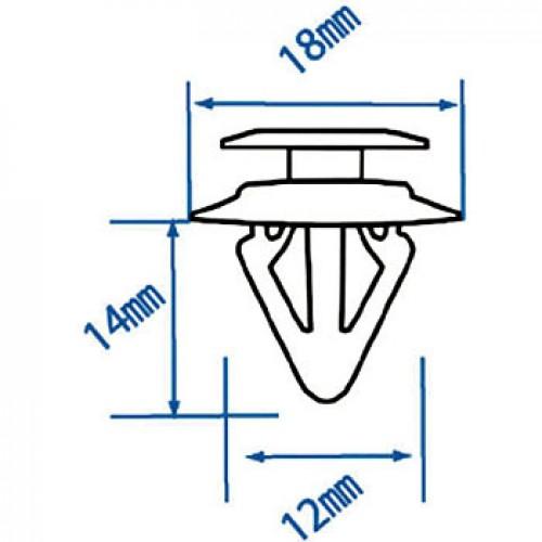 Автомобильная пластиковая клипса (для обивки MAZDA ) ( уп 100 шт.) RD38 JTC