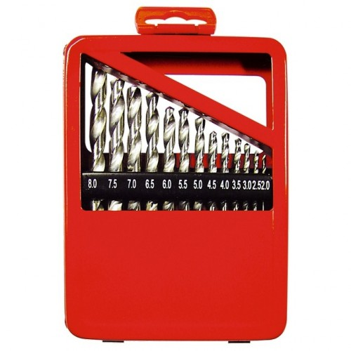 Набор сверл по металлу, 2-8 мм (через 0,5 мм), HSS, 13 шт, металлическая коробка, цилиндрический хвостовик. MATRIX