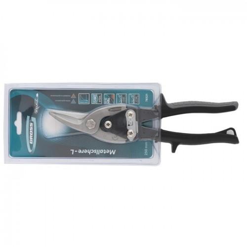"""Ножницы по металлу """"PIRANHA"""", 250 мм, прямой и левый рез, сталь СrMo, двухкомпонентные рукоятки. GROSS 78321"""
