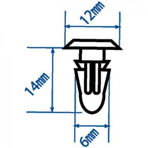 Автомобильная пластиковая клипса (для резиновых элементов обшивки FORD) ( уп 200 шт.) RD19 JTC