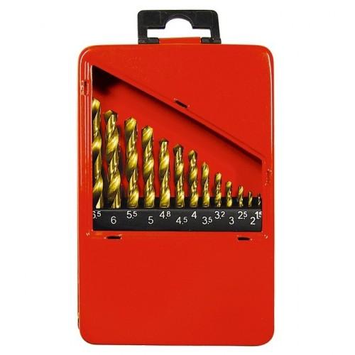 Набор нитридтитановых сверл по металлу, 1,5-6,5 мм (через 0,5 мм+3,2мм; 4,8 мм), НSS, 13 шт. MATRIX