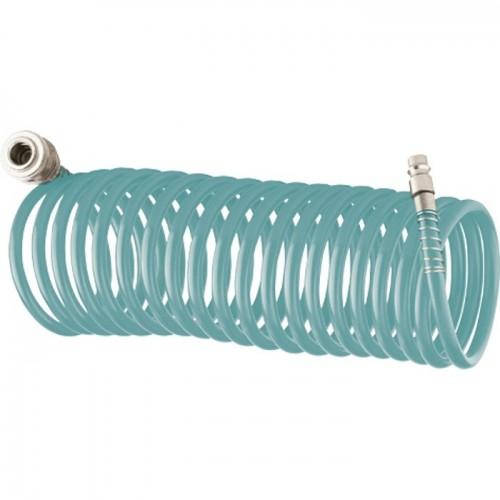 Полиуретановый спиральный шланг профессиональный BASF, 15 м, с быстросъемными соединением. STELS 57009