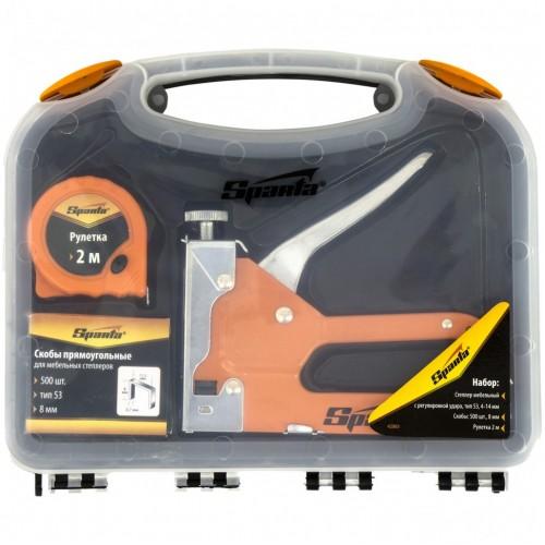 Набор: степлер мебельный регулируемый, скобы 500 шт, рулетка 2 м, тип скобы 53,6-14 мм. SPARTA