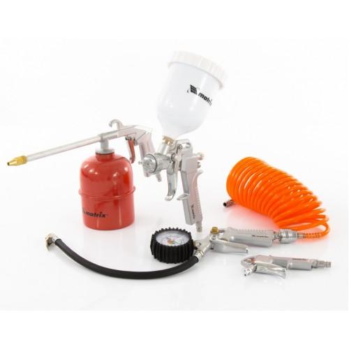 Набор пневмоинструмента, 5 предметов, быстросъемное соединение, краскораспылитель с верхним бачком. MATRIX
