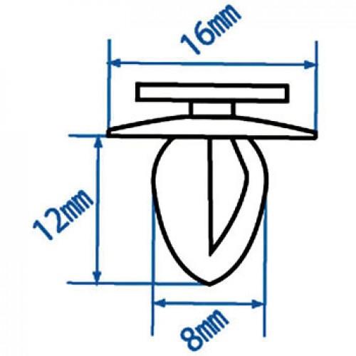 Автомобильная пластиковая клипса (для обивки MITSUBISHI) ( уп 200 шт.) RD34 JTC