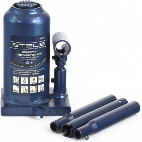 Домкрат гидравлический бутылочный телескопический, 4 т, H подъема 170-420 мм. STELS 51116