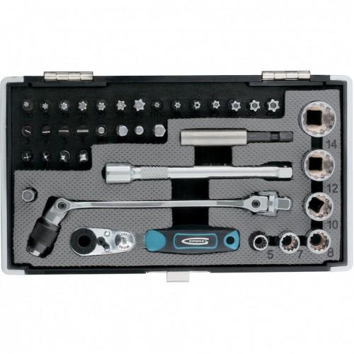 Набор бит и головок торцевых, 1/4, карданный ключ, трещотка, адаптер, S2 37 шт, GROSS 11625