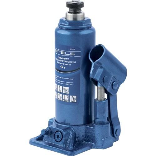 Домкрат гидравлический бутылочный, 4 т, H подъема 195-380 мм. STELS 51102