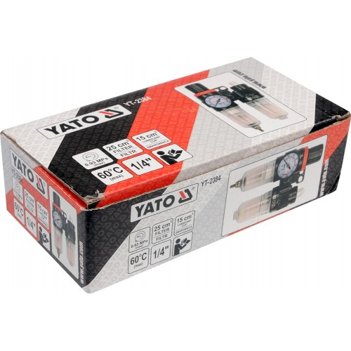 """Блок подготовки воздуха, фильтр, редуктор, масленка, вход: 1/4"""", 25см3 YATO YT-2384"""