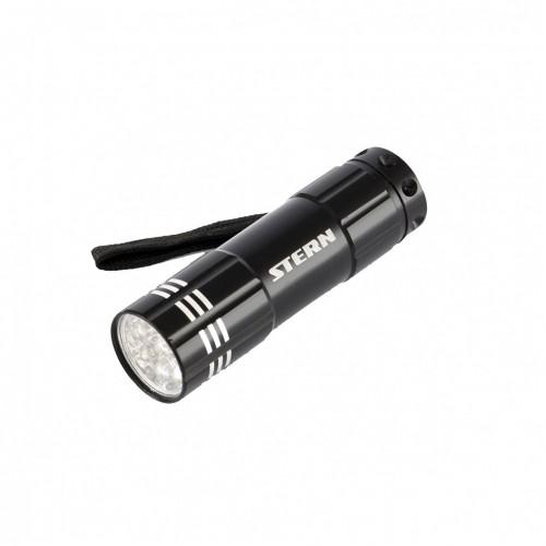 Фонарь бытовой алюминиевый с гравировкой, чёрный, 9 LED, 3 х ААА. STERN