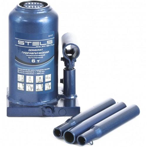 Домкрат гидравлический бутылочный телескопический, 6 т, H подъема 170-420 мм. STELS 51117