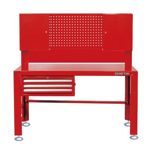 Верстак слесарный 3 полки выдвижных, 2 навесных шкафа, перфорированная панель KING TONY 87502