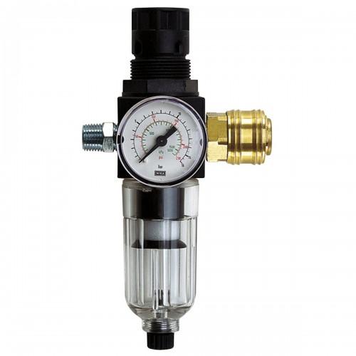 """Фильтр воздуха+редуктор давления, включая резьбовой нипель и быстросъем R 1/4"""""""