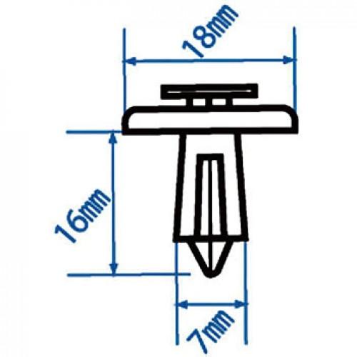 Автомобильная пластиковая клипса (внутреняя обшивка салона) ( уп 100 шт.) RD31 JTC