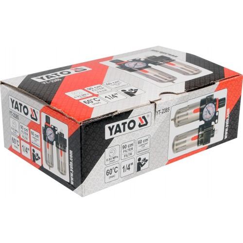 """Блок подготовки воздуха, фильтр, редуктор, масленка, вход: 1/4"""", 90см4 YATO YT-2385"""