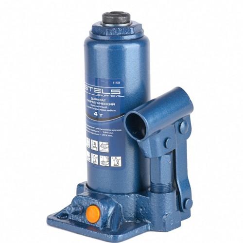 Домкрат гидравлический бутылочный, 4 т, H подъема 195-380 мм, в пластиковом кейсе. STELS 51123