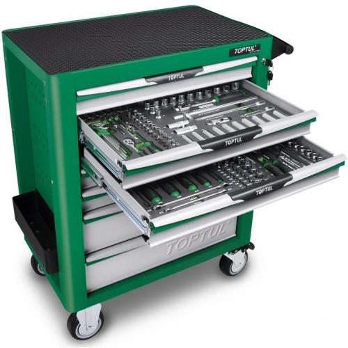 Тележка с инструментом (Pro-Plus) 7 секций 261ед. зеленая TOPTUL GE-26117