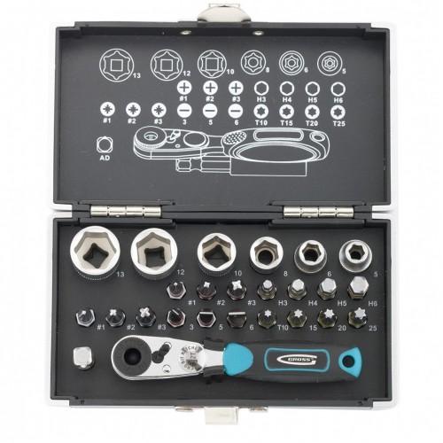 Набор бит и головок торцевых, 1/4, магнитный адаптер, сталь S2 пластиковый кейс, 26 предметов. GROSS 11361