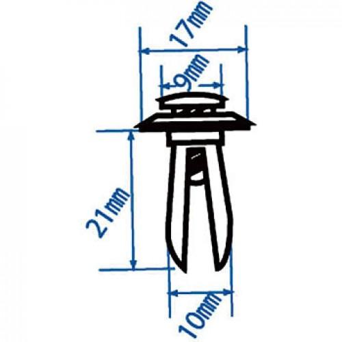 Автомобильная пластиковая клипса (бампер) ( уп 100 шт.) RD17 JTC