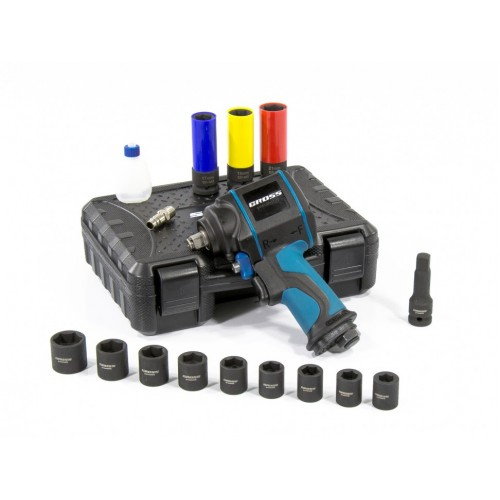 Гайковёрт пневматический ударный G985K2, 1/2, 610Нм 9000 об/мин, с набором 17 предметов. GROSS 57445