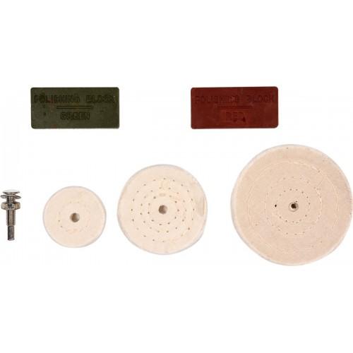 Полировальный набор из 3 дисков 50/75/100 мм держатель 6 мм + паста VOREL 25420