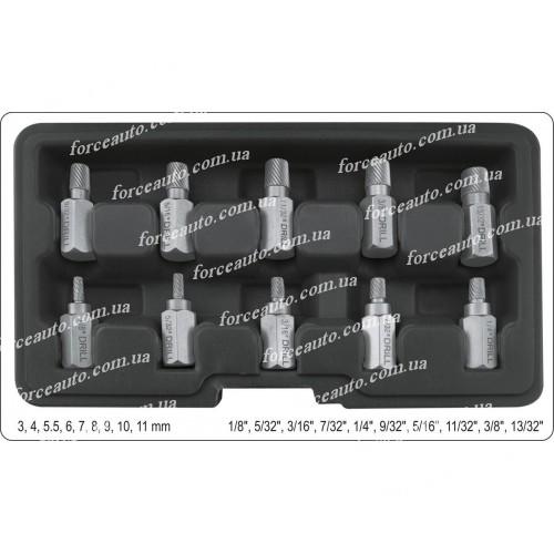 Экстрактори для извлечения сломанных шпилек/болтов YATO, Ø 3-11 мм, 10 шт. YT-05890