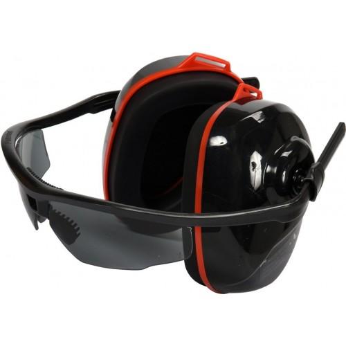 Шумопонижающие наушники в сочетании с очками серого цвета YT-74635