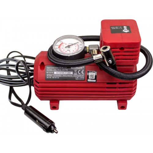 Автомобильный компрессор, 12 В, 0-18 бар, кабель 2.9 м, 3 адаптера EINHELL 2072112