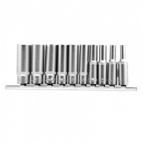 Набор удлиненных торцевых головок 1/4, шестигранные, CrV, 10 шт., 4-13 мм 13605 Stels