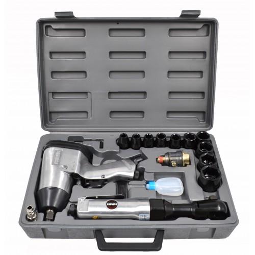 """Пневматический инструмент 1/2""""  с набором ударных головок 17 пр. SUMAKE ST-5500"""