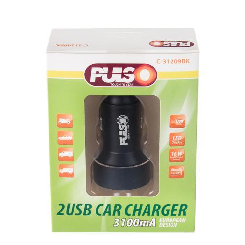 Автомобильное зарядное устройство PULSO, 2USB (12/24V - 5V 3,1A) + вольтметр (C-31209BK)