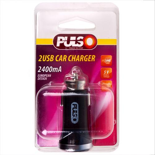 Автомобильное зарядное устройство PULSO C-2411BK 2USB (12/24V - 5V 2,4A) (C-2411BK)