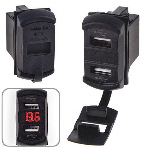 Автомобильное зарядное устройство 2 USB 12-24V врезное + вольтметр (10256 USB-12-24V 2,1A RED)
