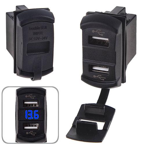Автомобильное зарядное устройство 2 USB 12-24V врезное + вольтметр (10258 USB-12-24V 2,1A BLU)