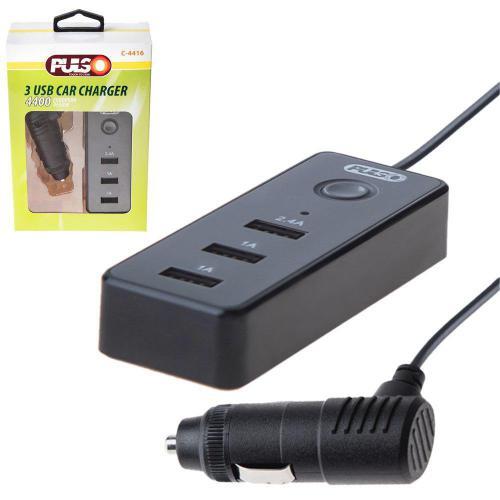 Автомобильное зарядное устройство PULSO C-4416 3USB (12/24V - 5V 2,4А + 2х1А) провод 1м (C-4416)