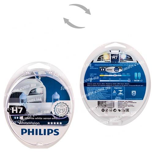 Автолампа Philips White Vision H7 12V 55W PX26d 2 шт. (12972WHVSM) абсолютно белый свет (12972WHVSM)