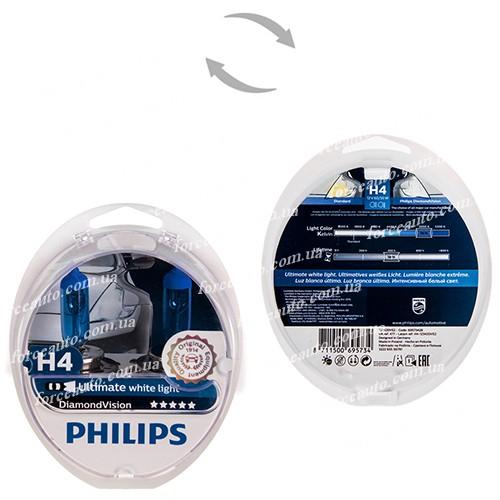Автолампа Philips Diamond Vision H4 12V 60/55W P43t 2 шт. (12342DVS2) белый холод.свет-голуб.оттен. (12342DVS2)