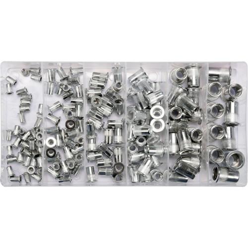 Набор алюминиевых резьбовых заклепок (нитогайки) М3-М10, 150 шт.,для заклепочника Yato YT-36460