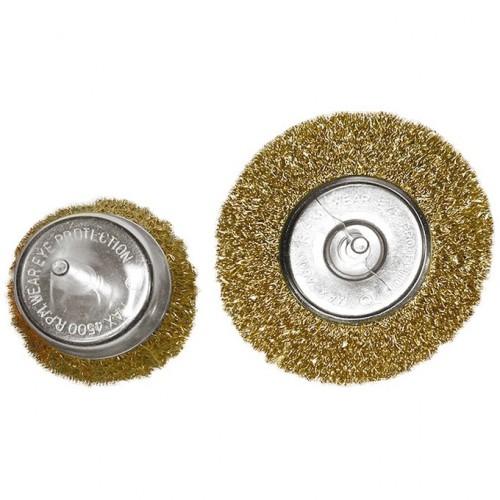 """Набор щеток для дрели, 2 шт, 1 плоская, 100 мм, 1 """"чашка"""", 75 мм, со шпильками Matrix"""