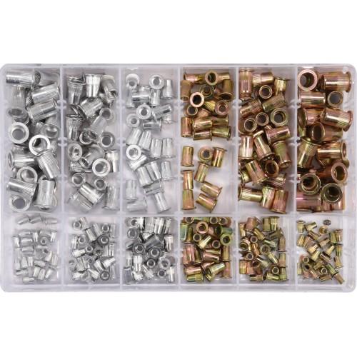 Набор заклепок стальных и алюминиевых резьбовых (нитогайки) для заклепочника МЗ-М10,-300шт. Yato YT-36480